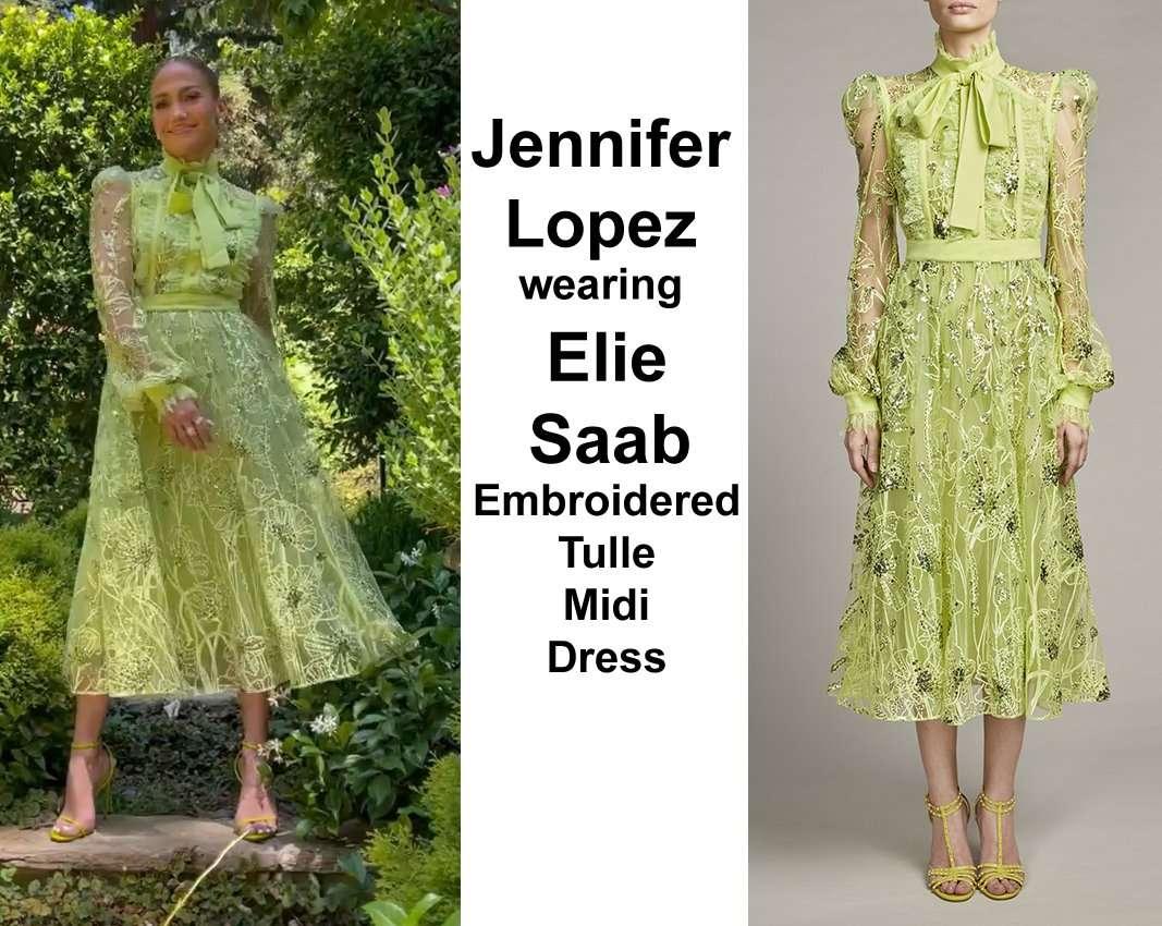 Jennifer Lopez wearing Elie Saab Embroidered-Tulle Midi Dress
