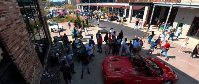 Free drink and food area at St Louis Exotic Car Show City Foundry