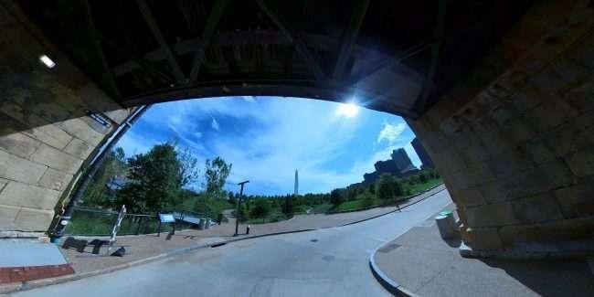 Eads Bridge under pass in the Laclede's Landing neighborhood in downtown St. Louis. credit craig currie