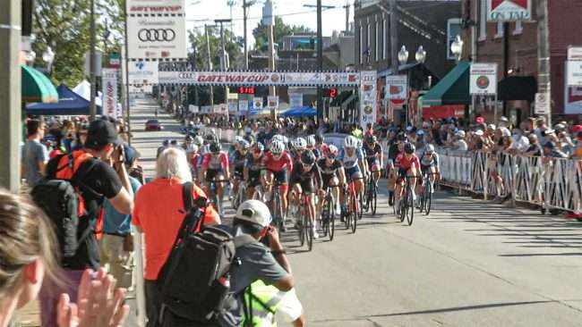 Gateway Cup Women's Pro bike race Hill neighborhood in St. Louis. credit craig currie