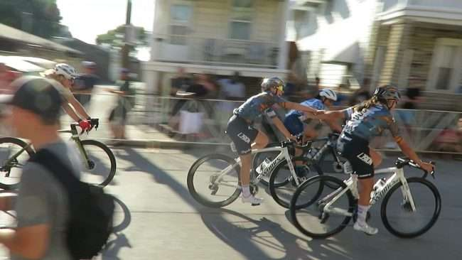Gateway Cup Women's Pro holding hands after winning in The Hill neighborhood in St. Louis. credit craig currie