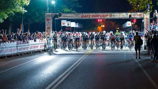 Gateway Cup Pro Men's at starting line for bicycle race in Lafayette Park, Tour de Lafayette. credit craig currie