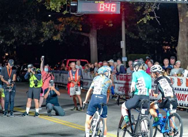 Gateway Cup women's pro category at starting line for bicycle race in Lafayette Park, Tour de Lafayette. credit craig currie