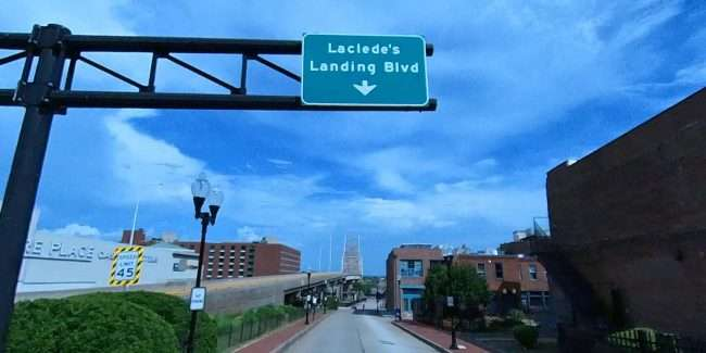 Laclede's Landing signage in downtown St. Louis. credit craig currie