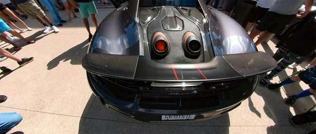 McLaren spits fire St Louis Exotic Car Show City Foundry