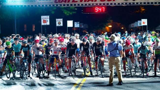 Gateway Cup men's pro from getting ready at starting line for bicycle race in Lafayette Park, Tour de Lafayette. credit craig currie