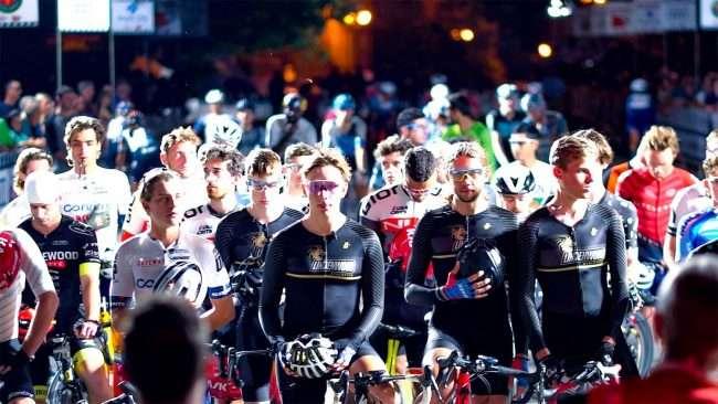 Gateway Cup men's pro just before start of bicycle race in Lafayette Park, Tour de Lafayette. credit craig currie