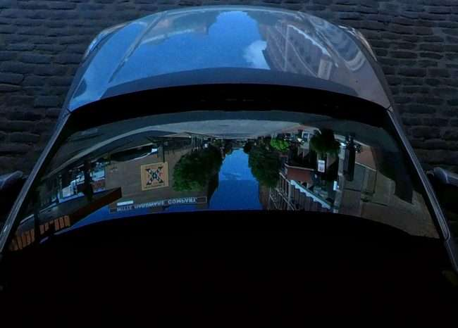 Reflection of windshield of Laclede's Landing in downtown St. Louis. credit craig currie
