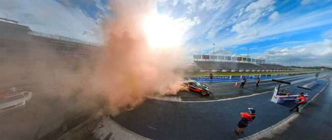 Smoke from Burnout Winner at World Wide Technology Raceway, Madison, IL. credit craig currie