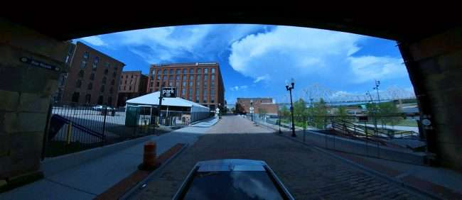 A look from under Eads Bridge at Laclede's Landing in downtown St. Louis. credit craig currie